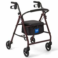 Medline Steel Rollator Mobility Walker with 350 lb Weight Capacity and Wheels, Burgundy Walker Medical, Hip Replacement Recovery, Mobility Walkers, 3rd Wheel, Knee Injury, Bag Storage, 6 Inches, Baby Strollers, Burgundy