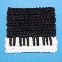Crochet Piano Keys Mug Rug Square Coaster - Penguin Crochet