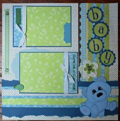 One 12 x 12 premade SWEET BABY scrapbook page. This page is carefully handcrafted in soft blue, green and white with a paper pieced bear; it is matted
