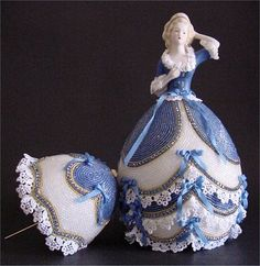 Porcelain doll bust on beaded rhea egg skirt with umbrella off