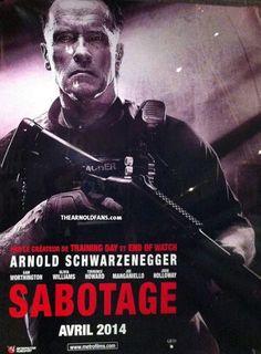 Póster de Sabotage con Arnold Schwarzenegger