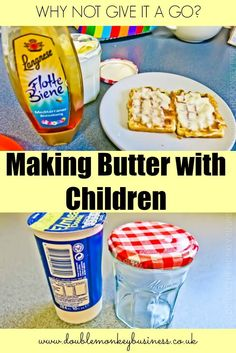We have been making butter with the kids this week.  Why not try it out with your children!  It is a great family activity.
