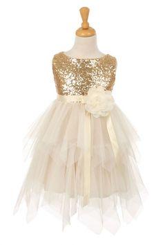 Gold+Sequin+Bodice+Flower+Girl+Dress+with+Double+Layered+Mesh+Skirt+KK-6370-GD+on+www.GirlsDressLine.Com