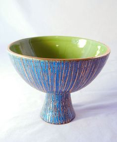 Bitossi Rimini Blue Sgraffito Italian Art Pottery Compote  by Aldo Londi, 1950s by CandyAppleCrafts, $235.00