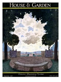 Published September 1, 1927    Pierre Brissaud created this illustration of a formal French garden for the September 1927 House & Garden cover. A semicircular stone bench sits in the shade of the large arching trees.