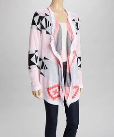 Look what I found on #zulily! Say What? Coral & Black Tribal Open Cardigan by Say What? #zulilyfinds