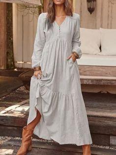 V-Neck Button Long Sleeve Pullover Plain Dress Floryday Vestidos, Mode Hippie, Plain Dress, Long Sleeve Maxi, Casual Dresses, Maxi Dresses, Elegant Dresses, Summer Dresses, Formal Dresses