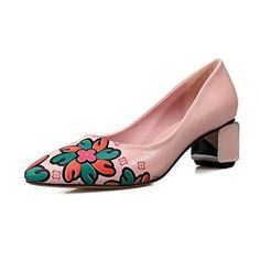 Nine Seven Genuine Leather Womens Pointy Toe Chunky Heel Floral Handmade Pump