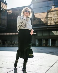 Turtleneck sweater, skirt, tights and leather boots | For more style inspiration visit 40plusstyle.com