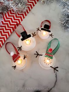 Melted Snowman Tea Light Ornaments - Crafty Morning Melted Snowman Ornament, Snowman Crafts, Diy Christmas Ornaments, Diy Christmas Gifts, Snowman Decorations, Christmas Crafts For Kids To Make, Xmas Crafts, Tea Light Candles, Tea Lights