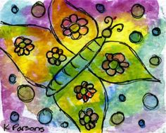"""""""Psychedelic Butterfly"""" - Original Fine Art for Sale - Watercolor and Ink - © Kali Parsons - http://kaliparsons.blogspot.com"""