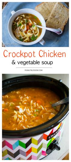 Crock pot chicken soup with vegetables. This healthy version of your favorite comfort food makes a large batch perfect for leftovers or packing for lunches during the week. So easy and yummy!