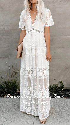 White Lace Maxi Dress, Elegant Maxi Dress, Maxi Dress With Sleeves, Long White Dress Boho, White Dress Outfit, White Beach Dresses, Maxi Dress Outfits, Formal Boho Dress, White Dress Casual