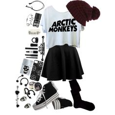 Arctic Monkeys | I need this outfit. this would look great with black jeans instead of the skirt also.