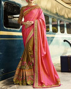 Compliment Your Style By Wearing This Wedding Special Saree From The House Of Simaaya Fashions. Fabricated With Great Quality Crepe Silk Fabric, This Drape Keeps You At Ease All Day Long.  Get this at - http://www.simaayafashions.com/wedding-special-crepe-silk-saree-in-pink-and-dark-beige-prfa7225  #designersaree #partywear #onlineshopping #simaaya