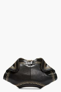 ALEXANDER MCQUEEN Black Leather Studded De Manta City Clutch