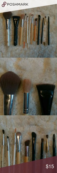 Makeup Brush bundle Left to right: powder, blush, contour, crease, brows, eyeliner, smudge, blending, crease, eyeliner Makeup Brushes & Tools