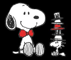 Snoopy with a bow tie and Woodstock with fiiiiive hats
