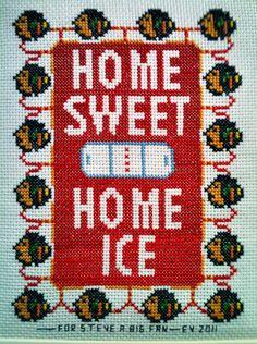 Blackhawks Home Sweet Home Ice cross stitch made with love by Grandma Ev from a newspaper clipping. Cross Stitching, Cross Stitch Embroidery, Cross Stitch Patterns, Hawks, Embroidery Ideas, Cheryl, Newspaper, Hockey, Sweet Home