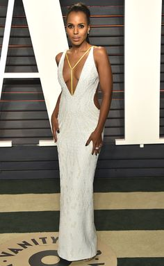 2016 Oscars Vanity Fair: Kerry Washington is wearing a silver sequin Atelier Versace dress with a deep neckline, side cutouts, open back, and neon harness. This is a sexy glam dress! I love it on Kerry