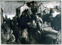 Gerald Spencer Pryse: Belgian Refugees and Artillery, 1915 (litho)