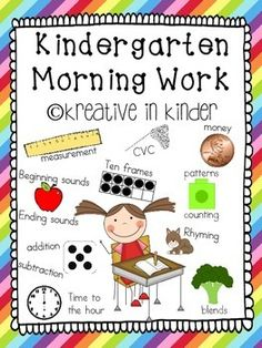 Independent Kindergarten Morning Work!  This set includes 92 pages of morning work activities.  Learning objectives include:  CVC words, blends, money, patterns, time to the hour, bundles, tallies, syllables, months, days of the week, and more!  $