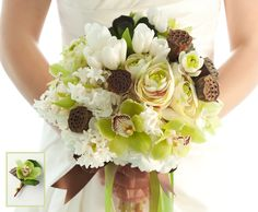 European hand-tied bouquet of hydrangea, hyacinth, ranunculus, tulips, cymbidium orchids, sweet pea, lotus pod and succulents; paired with a cymbidium orchid and lotus pod boutonniere
