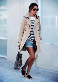 Dress up or dress down a trenchcoat to make your outfits more versatile when traveling.