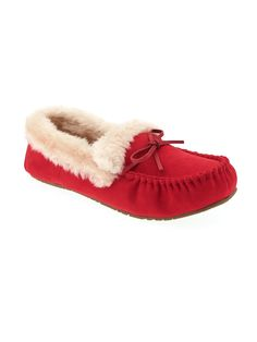 Sueded Sherpa-Trim Moccasin Slippers