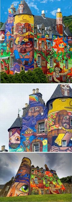 """""""This 13th century Scottish castle was in need of renovation, so its owners decided to raise funds by increasing public traffic with the help of artwork. Created by four Brazilian graffiti artists who stayed in the castle for a month, these amazing collaborations came to life. Since the concrete on the outside walls needed to be redone the art was done on a temporary basis."""""""