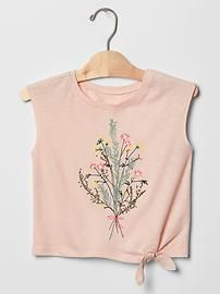 Embroidered graphic knot tee