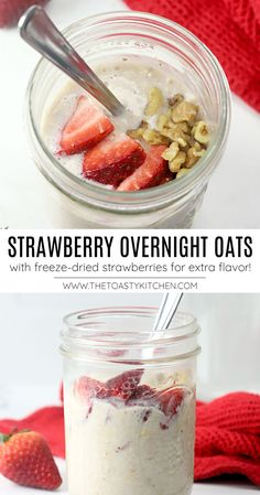 Strawberry Overnight Oats recipe - by The Toasty Kitchen. Strawberry overnight oats are an easy, make-ahead breakfast with no cooking involved. Creamy oatmeal is filled with extra strawberry flavor thanks to the addition of freeze-dried strawberries. A hearty grab-and-go breakfast! #overnightoats #strawberryoats #strawberries #freezedriedstrawberries #strawberriesandcream #nocookbreakfast #grabandgobreakfast #makeahead #mealprep #easybreakfast #healthybreakfast #recipe Best Breakfast Recipes, Savory Breakfast, Make Ahead Breakfast, Sweet Breakfast, Strawberry Overnight Oats, Recipe Maker, Freeze Dried Strawberries, Best Comfort Food