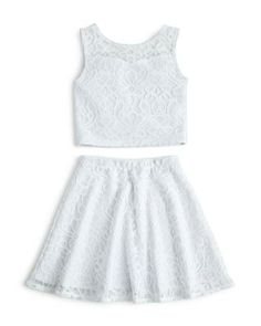 Sally Miller Girls' Lace Crop Top & Skirt, Sizes S-XL - Exclusive Kids - Girls - Girls - Bloomingdale's Cute Comfy Outfits, Cute Girl Outfits, Kids Outfits Girls, Cute Outfits For Kids, Cute Summer Outfits, Girls Dresses, Kids Girls, Crop Tops For Tweens, Girls Crop Tops