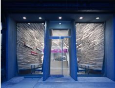 "Gone now but I loved this little space.  Fluff Bakery by LTL Architects.  ""three miles of ¾ by ¾ inch strips of felt and stained plywood."""