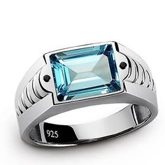 Mens Ring BLUE TOPAZ 3.40ctw with Natural Black Onyx SOLID 925 Sterling Silver