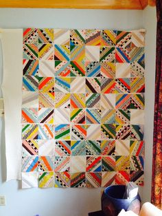 "I'm really digging the interplay of the brights and neutrals in this ""Restoration Swing"" quilt by Lori Hashizume."