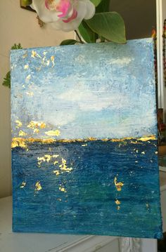 Glamorous!! Sea with gold leaf accents! Painting by Fiona Mares, Acrylic painting on canvas frame with gold leaf accents. FOR SALE! FionaMaresGallery@gmail.com