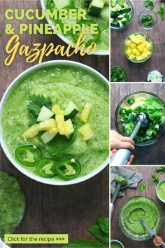 I love a summery gazpacho, and it's so fun to play around with alternatives to traditional tomato gazpachos. Not too long ago, I shared my recipe for watermelon and fennel gazpacho, and today I'm excited to share this refreshing cucumber and pineapple gazpacho. I love it with a side of crusty bread with olive oil for dipping. Good Healthy Recipes, My Recipes, What Is Gazpacho, Cucumber Gazpacho, Fruit Soup, Spaghetti Casserole, Vidalia Onions, Fennel, Fresh Herbs