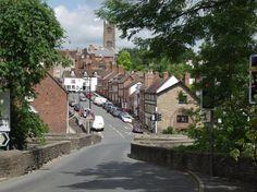 Scene showing Ludford Bridge and Lower Broad Street, Ludlow, Shropshire, England