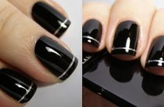 Classy Black and Silver Stripped Tip Nail Art Tutorial! Classy Black and Silver Stripped Tip Nail Ar Silver Nail Art, Black Nail Art, New Nail Art, Cool Nail Art, White Nails, Black Nails, Black Nail Tips, White Manicure, Black And White Nail Designs