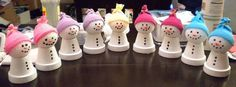 """clay pot snowmen - OCCASIONS AND HOLIDAYS - My mom LOVES to make things with clay pots and I seem to have inherited what my sisters and I have come to call """"clay pot craft disease. Christmas Clay, Christmas Projects, Winter Christmas, Christmas Holidays, Christmas Ornaments, Snowman Crafts, Holiday Crafts, Holiday Fun, Clay Pot Projects"""