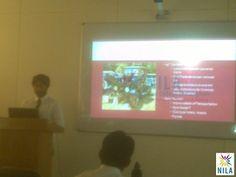 A student giving a presentation at #NILA @NilaGurgaon