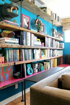 bright colors + industrial style shelving