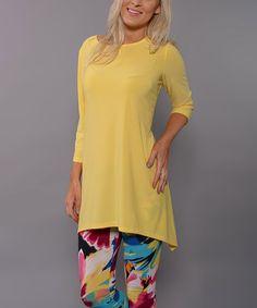Loving this Yellow Sidetail Tunic - Women on #zulily! #zulilyfinds