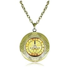 ANTIQUE LOCKET NECKLACE GRAVITY FALLS BILL CIPHER WHEEL PENDANT HOMESTUCK JEWELRY DIPPER PINES NECKLACE. #style #trend #onlineshop #shoptagr