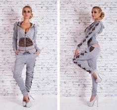 Leopard Patchwork Twinset Hoodies Set Activewear