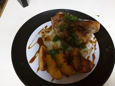 [OC] Peaches and pork chops. One of the best things I've ever made or tasted.