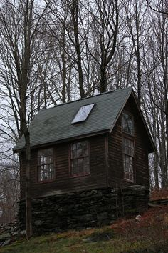 Love this little cabin with sky light. Add windows windows windows. One room living. I could so do it. :)