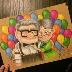 No photo description available. Couple Drawings, Art Drawings Sketches, Disney Drawings, Disney Up, Cute Disney, Walt Disney, Up Carl Y Ellie, Up Pixar, Cute Love Pictures