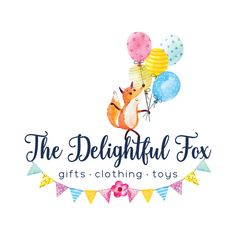 Premade Logo - Fox with Balloons & Bunting Premade Logo Design - Customized with Your Business Name!